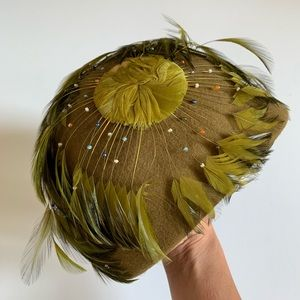 Vintage 1920's Feather & Bead Hat Olive Green
